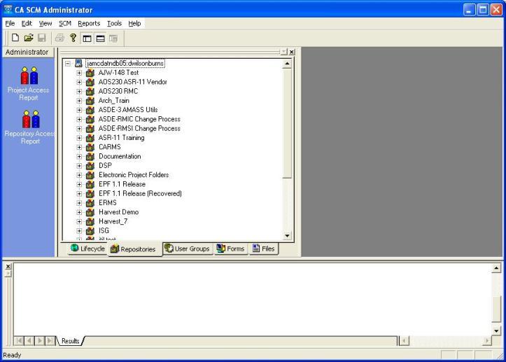 CA SCM Administator Repository Tab