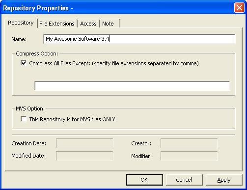 Repository Properties Dialog